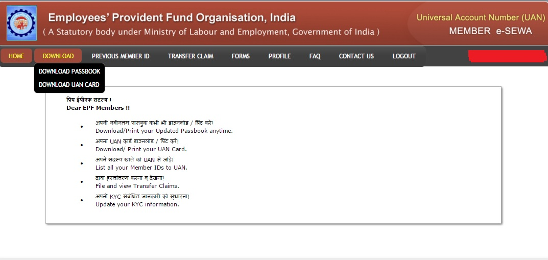 Check EPF balance at UAN Portal